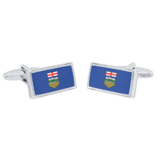 Vlag van Cufflinks van Alberta Verzilverde Manchetknopen