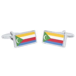 Vlag van Cufflinks van de Comoren Verzilverde Manchetknopen
