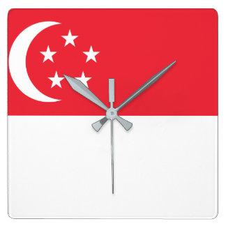 Vlag van de Wereld van Singapore de Nationale Vierkante Klok