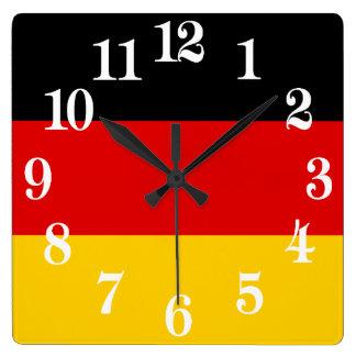 Vlag van Duitsland of Deutschland Vierkante Klok