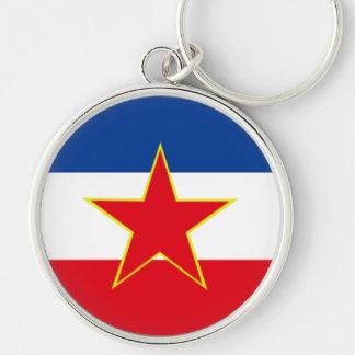 Vlag van Joegoslavië Zilverkleurige Ronde Sleutelhanger