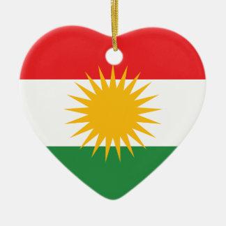 Vlag van Koerdistan; Koerd; Koerdisch Keramisch Hart Ornament