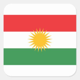 Vlag van Koerdistan; Koerd; Koerdisch Vierkant Sticker