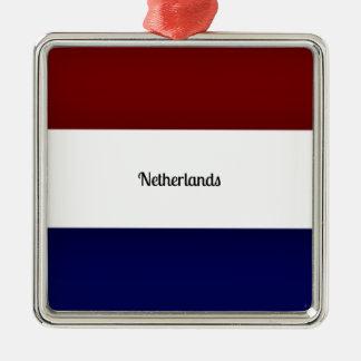 Vlag van Nederland Zilverkleurig Vierkant Ornament