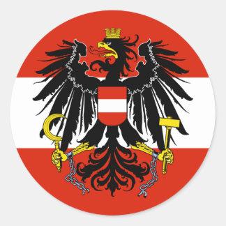Vlag van Oostenrijk met Wapenschild Ronde Sticker