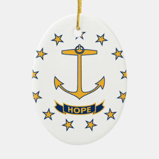Vlag van Rhode Island Keramisch Ovaal Ornament