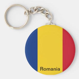 Vlag van Roemenië Basic Ronde Button Sleutelhanger