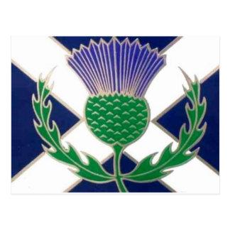 Vlag van Schotland en Distel Briefkaart