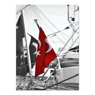 Vlag van Turkije - Selectieve Kleuring 13,9x19,1 Uitnodiging Kaart