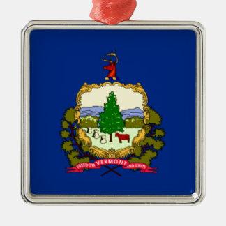 Vlag van Vermont Zilverkleurig Vierkant Ornament
