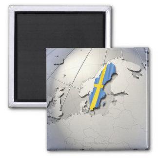 Vlag van Zweden Vierkante Magneet