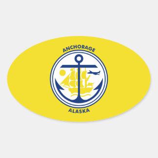 Vlag VIER van Anchorage Ovale Sticker