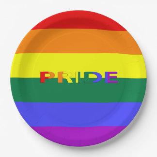 Vlag & Word 9 van de Trots van de Regenboog LGBT Papieren Bordjes