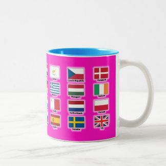 Vlaggen van 28 naties van de EU van de Europese Tweekleurige Koffiemok