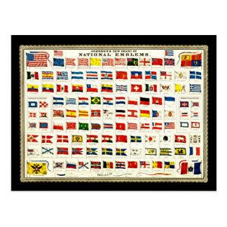 Vlaggen van Landen - Vintage Grafiek Briefkaart