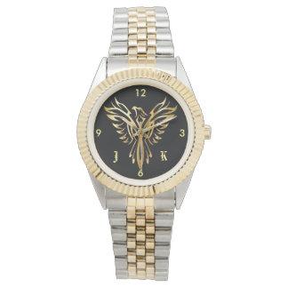 Vlammend gouden Phoenix dat met initialen toeneemt Horloge