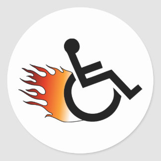 vlammende rolstoel ronde sticker