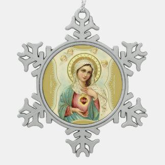 Vlekkeloos Hart van Mary Cherubs Angels Tin Sneeuwvlok Ornament