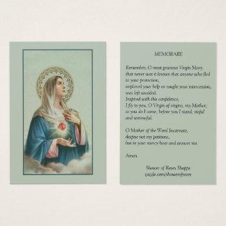 Vlekkeloos Hart van Mary Memorare Prayer Visitekaartjes
