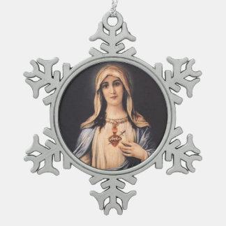 Vlekkeloos Hart van Mary Sorrowful Mother Tin Sneeuwvlok Ornament
