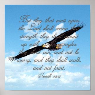 Vleugels als Eagles, de Christelijke Bijbel van Poster