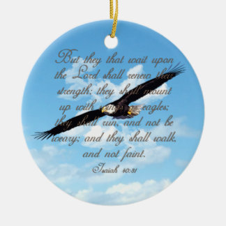 Vleugels als Eagles, de Christelijke Bijbel van Rond Keramisch Ornament