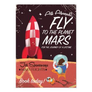 Vlieg aan de Planeet Mars! Vintage reisposter Fotografische Afdruk