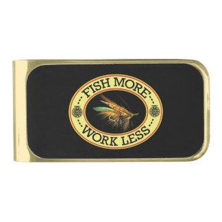 Vlieg die voor Grote Zalm vissen Vergulde Geldclip
