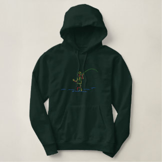 Vlieg-visser Overzicht Geborduurde Sweater Hoodie