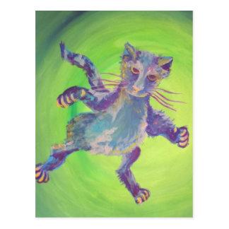 vliegend blauw kattenbriefkaart briefkaart