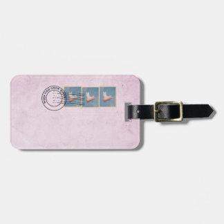 vliegend de bagagelabel van de varkenspostzegel