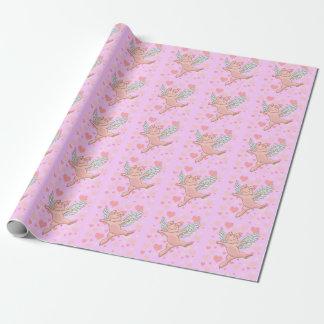 Vliegend Varken & Roze Harten Cadeaupapier