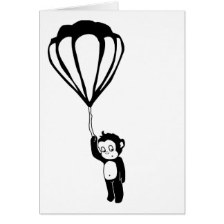 vliegende aap: hete luchtballon notitiekaart