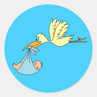 Vliegende Gele Ooievaar die Blauw Algemeen Baby le Sticker