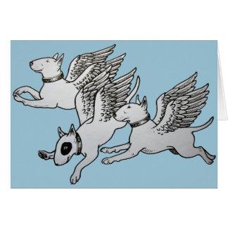 Vliegende Stier Terriers Wenskaart
