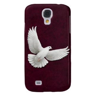 Vliegende Witte Duif op Kastanjebruin Levendig Taa Galaxy S4 Hoesje