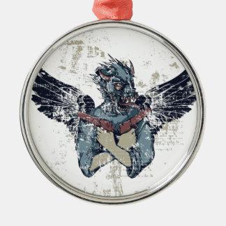 vliegende zombie met vleugels zilverkleurig rond ornament