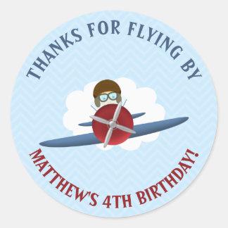 Vliegenier en Zijn Vliegtuig Ronde Stickers