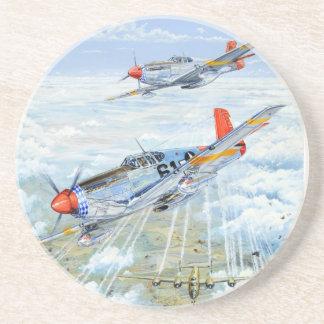 Vlieger p-51 van Tuskegee van de Wereldoorlog II M Zandsteen Onderzetter