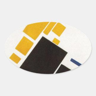 Vliegtuig die door Kazimir Malevich vliegen Ovale Stickers