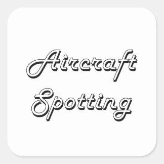 Vliegtuig die Klassiek Retro Ontwerp bevlekken Vierkante Sticker