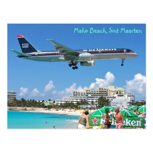 Vliegtuig die over maho strand sint maarten sxm briefkaart zazzle - Strand zwembad zonder grenzen ...