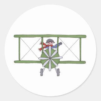 Vliegtuig in de wolken ronde sticker