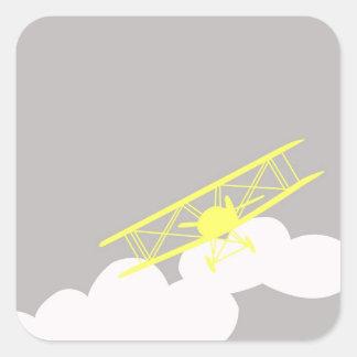 Vliegtuig op duidelijke grijze achtergrond vierkante stickers