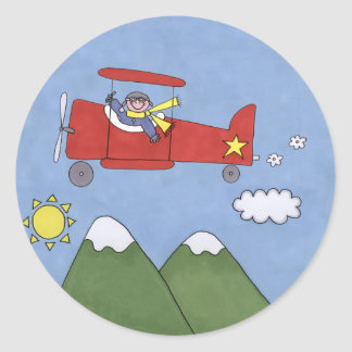 Vliegtuig Ronde Stickers