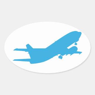 Vliegtuig Ovale Sticker