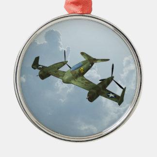 Vliegtuig Zilverkleurig Rond Ornament