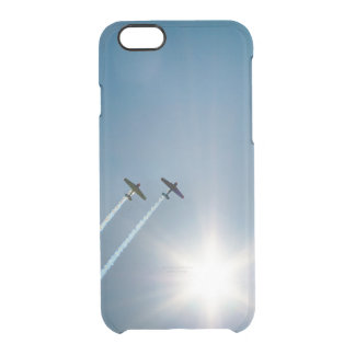 Vliegtuigen die op Blauwe Hemel met Zon vliegen Doorzichtig iPhone 6/6S Hoesje