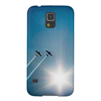 Vliegtuigen die op Blauwe Hemel met Zon vliegen Galaxy S5 Hoesje