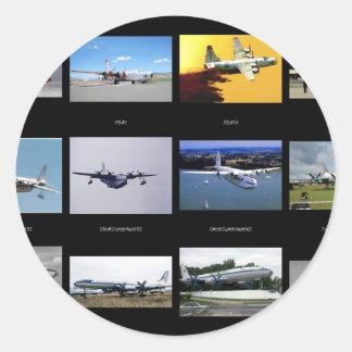 Vliegtuigen Ronde Stickers